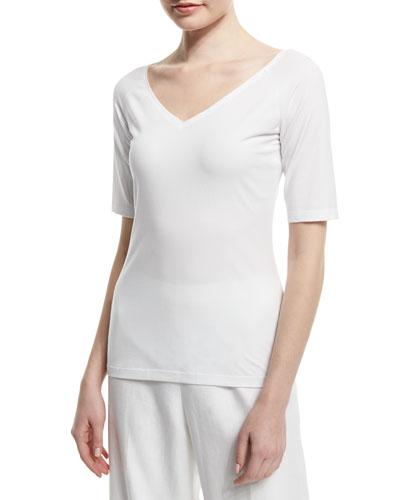 Half-Sleeve V-Neck Ballet Tee, White