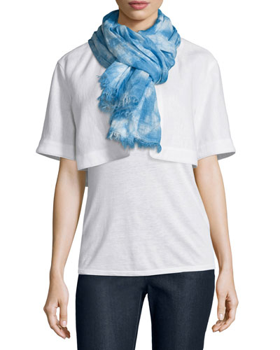 Marbleized Hues Flax Scarf, Ice Water/Multi