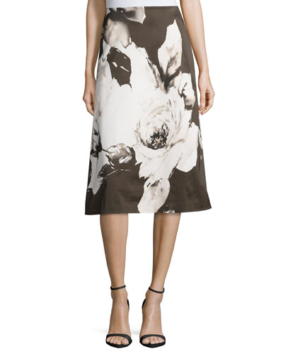 Zarita Floral-Print Skirt, Cloud/Multi