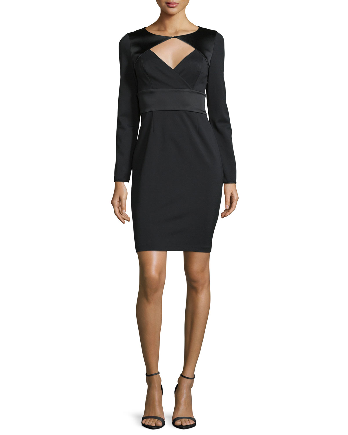 Long-Sleeve Fitted Cocktail Dress, Black