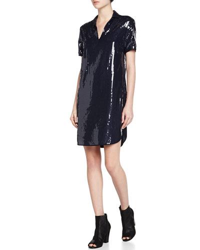 Short-Sleeve Sequined Shift Dress