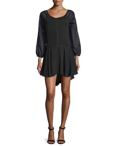 Bracelet-Sleeve A-Line Dress, Black