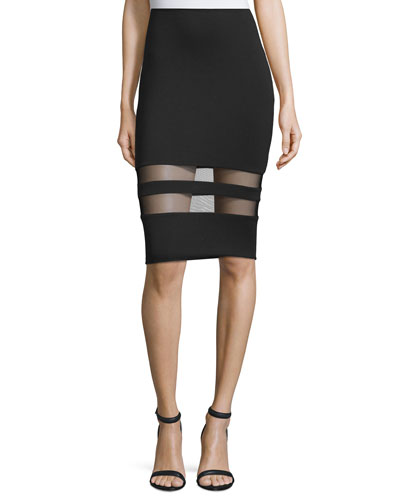 Mesh-Stripe Lux Ponte Skirt, Black