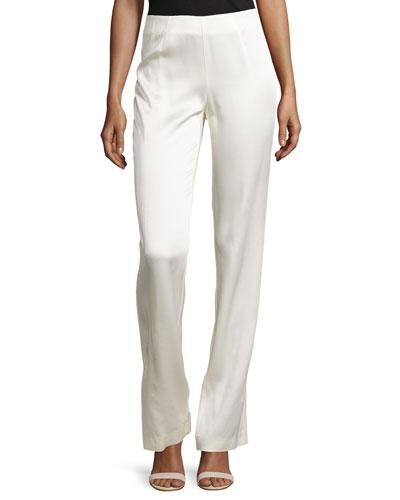 Flare-Leg Slit Crepe Pants, Ivory