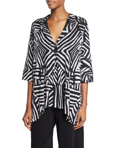 Half-Sleeve Tribal-Print Blouse