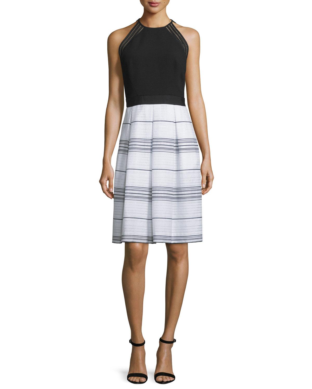Sleeveless Combo Striped Dress