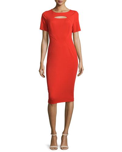 Brenda Short-Sleeve Sheath Dress, Poppy