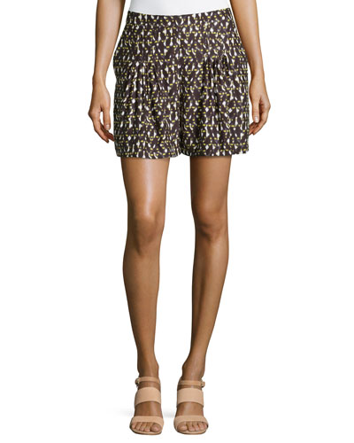 Spotted Knife-Pleated Silk Shorts, Daffodil Linear