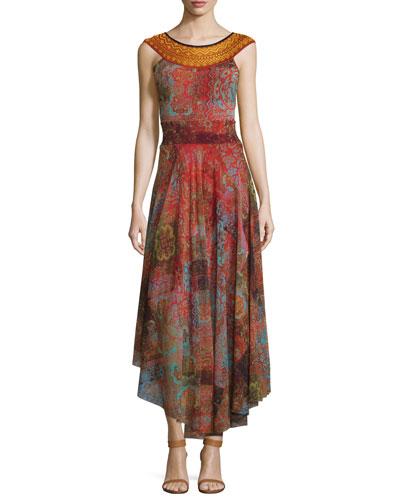 Moroccan Banded-Neck Full-Skirt Dress