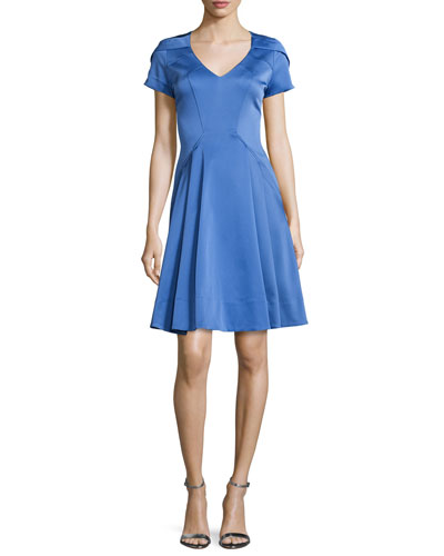 Marta Short-Sleeve Fit-&-Flare Dress, Iris