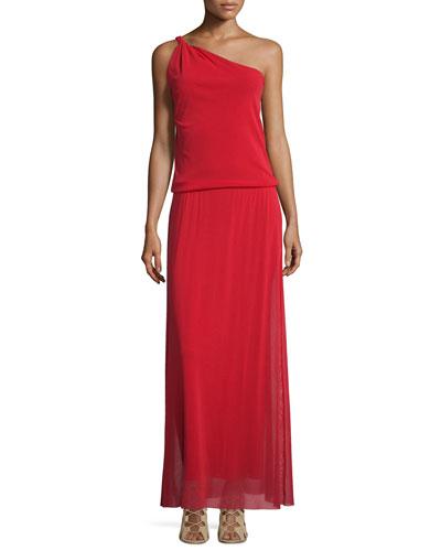 One-Shoulder Blouson Maxi Dress
