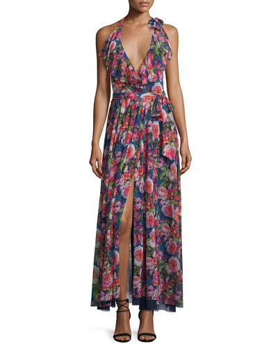 Floral-Print Ruffled Halter Maxi Dress