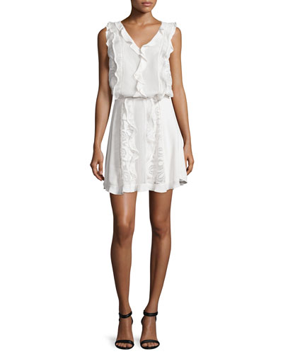 Celina Macrame Blouson Dress, White