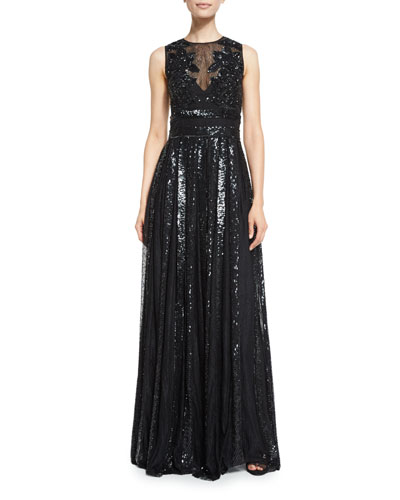 Beaded Sleeveless A-Line Gown, Black