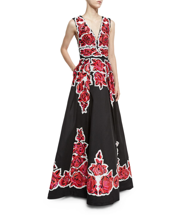 Rose-Beaded Sleeveless V-Neck Ball Gown, Roses