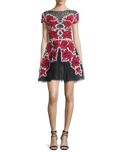 Sequined Short-Sleeve Cocktail Dress, Rose