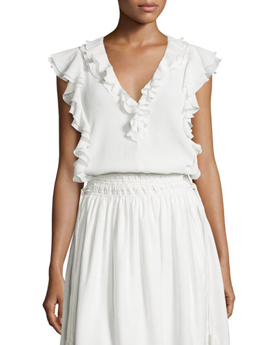 Condesa Double-Ruffle Sleeveless Top, White