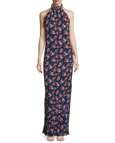 Iris Embellished Halter-Neck Gown, Nightshade/Crimson