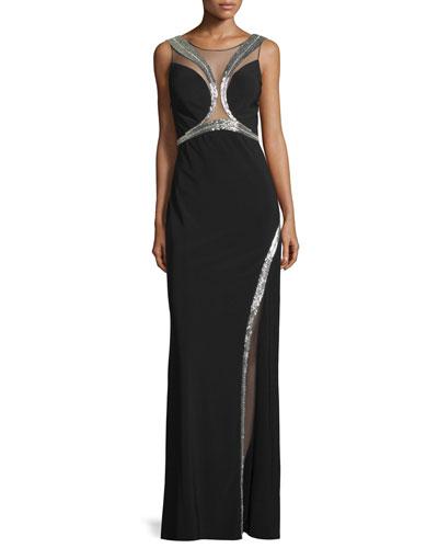Embellished Sheer-Inset Gown, Black/Silver