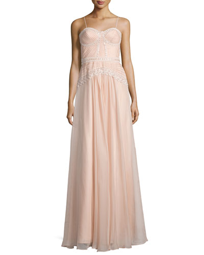 Embellished Bustier A-Line Gown, Blush