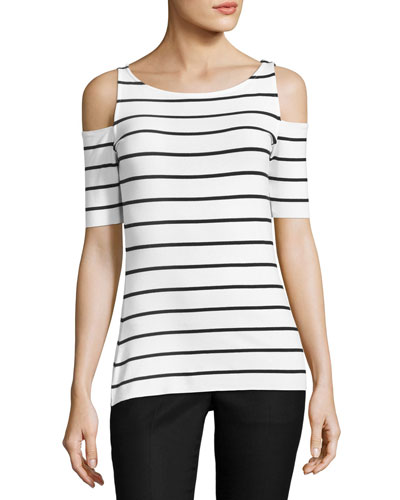 Deneuve Cold-Shoulder Striped Top, Heather Gray Stripe