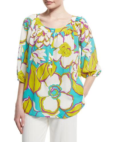 3/4-Sleeve Floral-Print Top