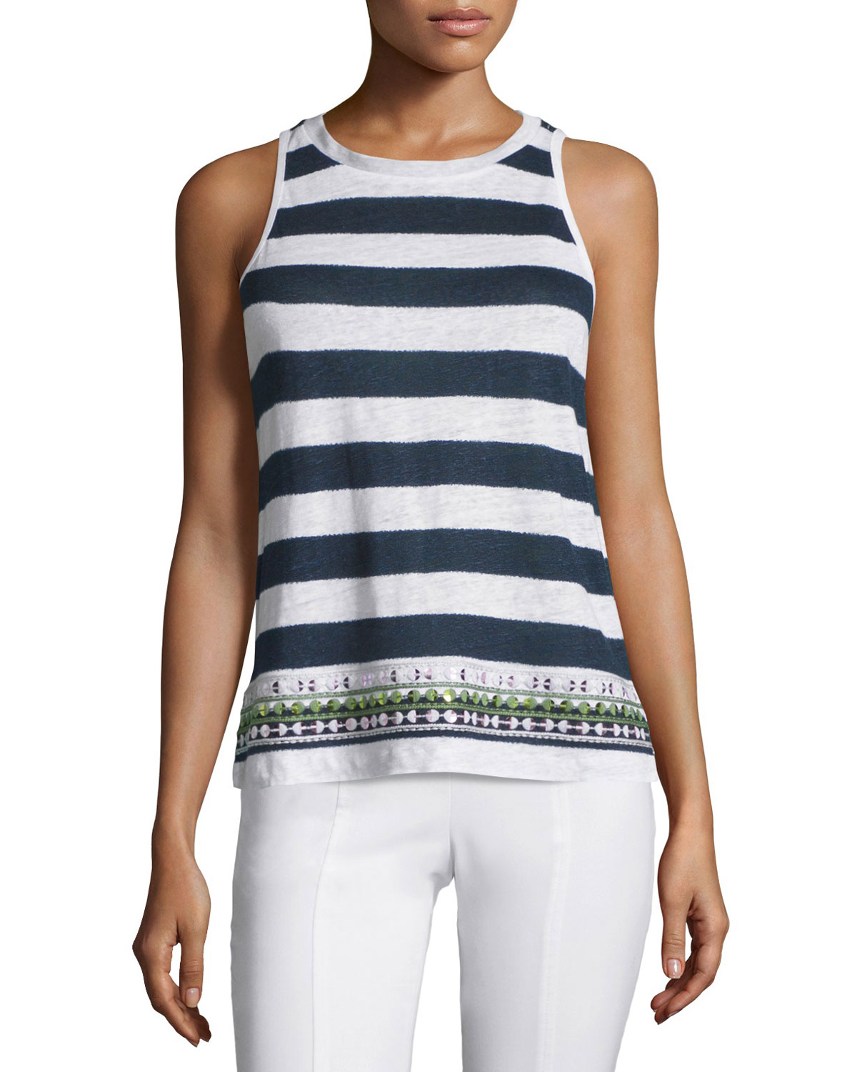 Jacki Striped Tank with Embellished Hem