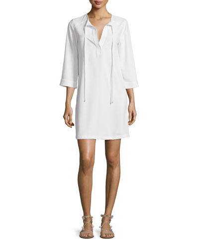 3/4-Sleeve Tie-Neck Shift Dress