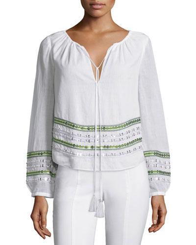 Madeline Embellished Short Cotton Tunic