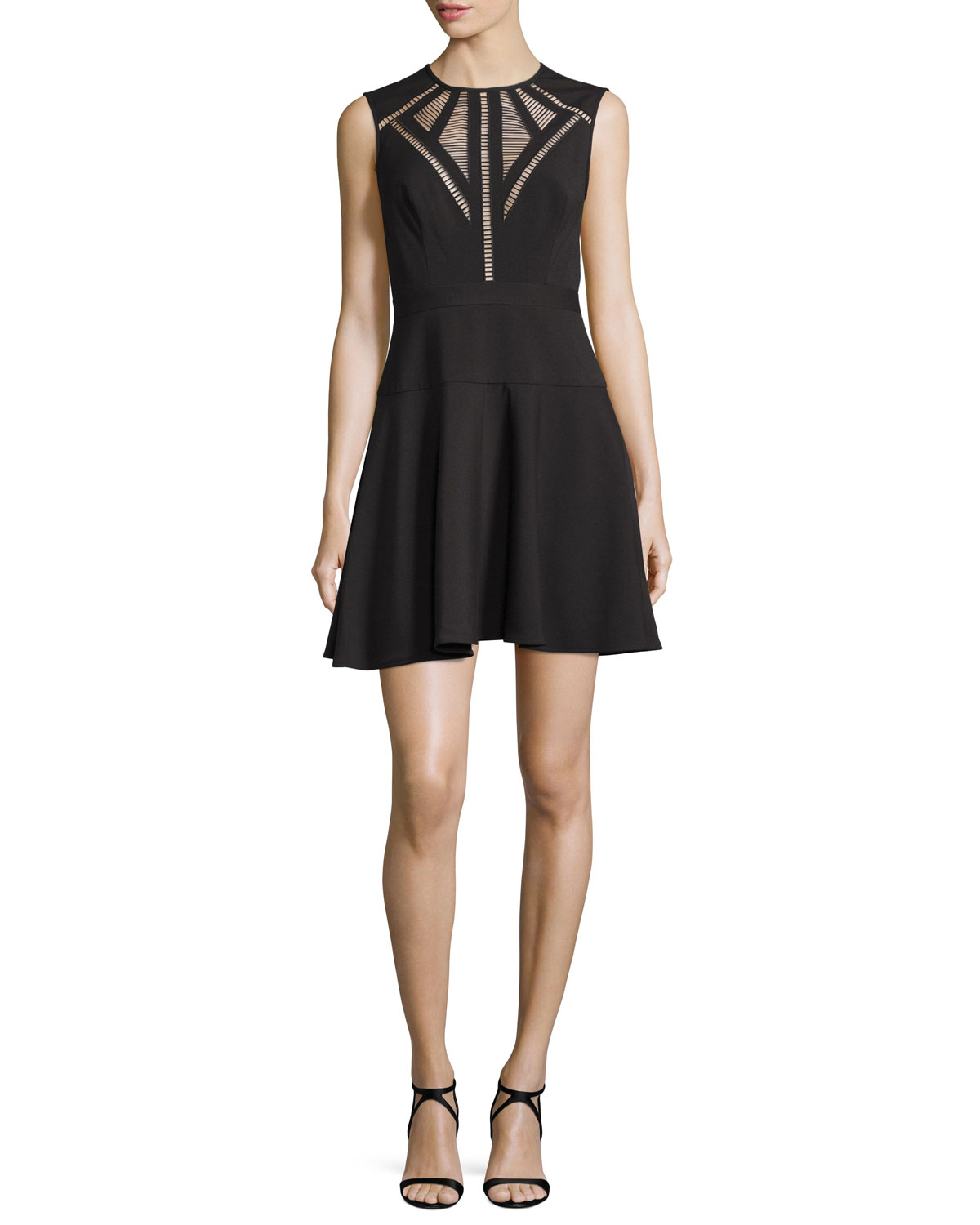 Aynn Pointelle-Inset Cocktail Dress, Black