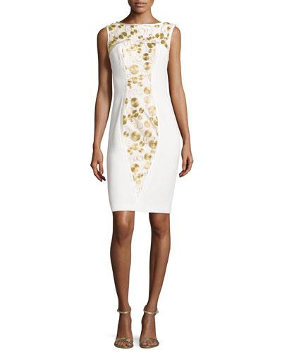 Sleeveless Metallic-Embroidered Sheath Dress, Ivory/Gold
