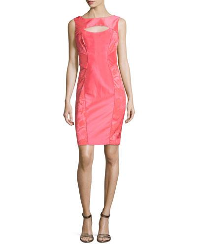 Sleeveless Cutout Organza Sheath Dress, Guava