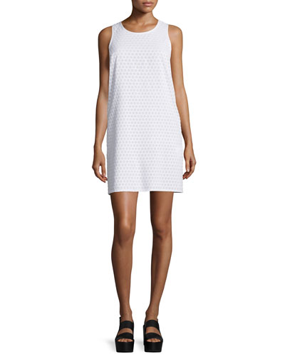 Evie Honeycomb Shift Dress, White