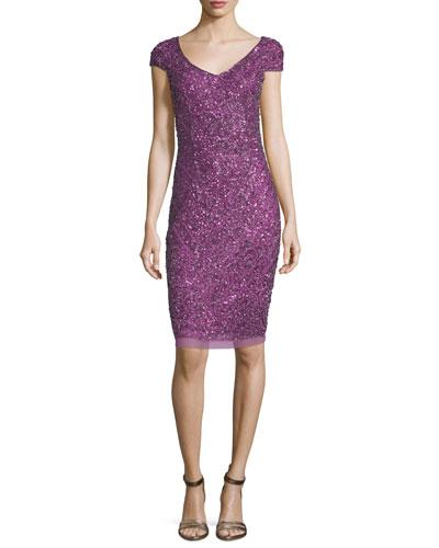 Beaded Cap-Sleeve Cocktail Dress, Violet