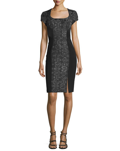Short-Sleeve Geometric-Jacquard Cocktail Dress, Black