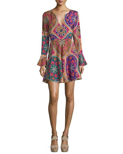 Iseya Long-Sleeve Medallion-Print Dress, Multi Colors