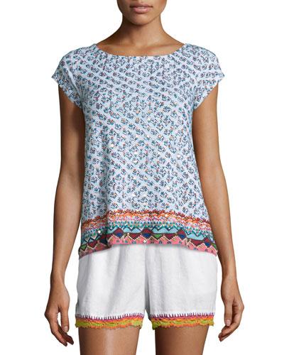 Zahara Cap-Sleeve Embroidered Tee, Coconut