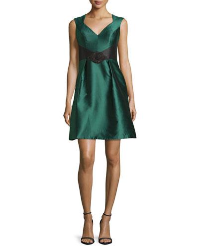 Sleeveless Open-Back Satin Cocktail Dress, Spruce