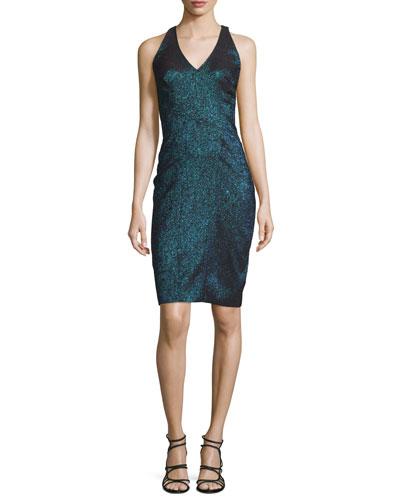 Sleeveless Metallic Jacquard Dress w/Illusion Back, Teal
