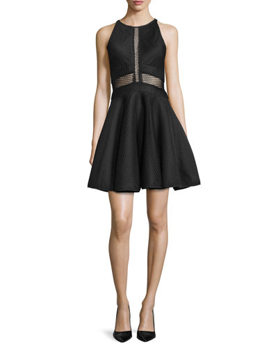 Corinne Sleeveless Illusion-Bodice Fit & Flare Dress