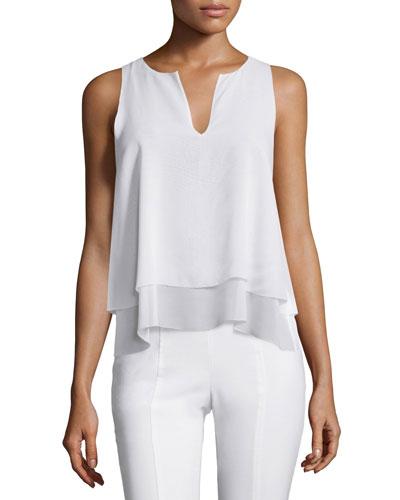 Alex Layered Sleeveless Silk Top, White