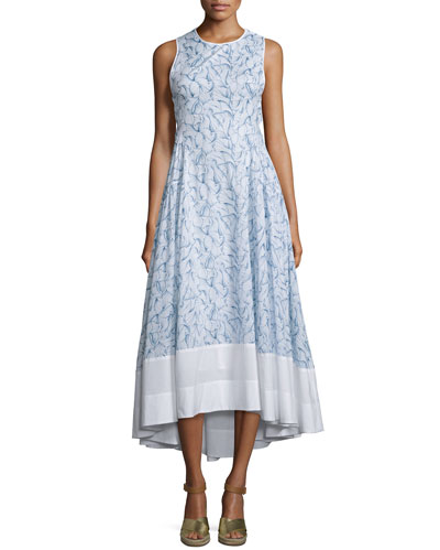 Crisscross-Back High-Low Dress, White Ellora