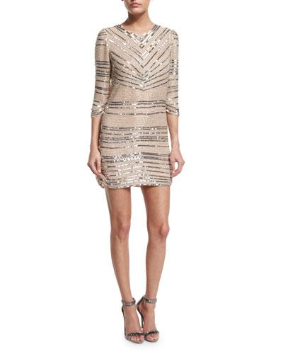 Petra 3/4-Sleeve Beaded Cocktail Dress, Blush