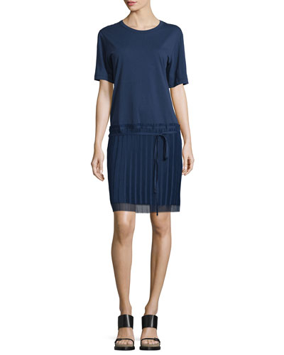 Short-Sleeve Round-Neck Shirtdress, Navy