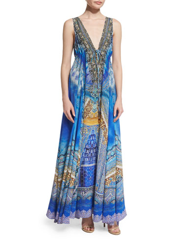 Embellished Flowy Maxi Dress, Palace of Dreams