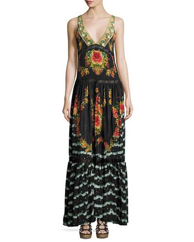 Sleeveless V-Neck Tiered Maxi Dress, Lift The Veil