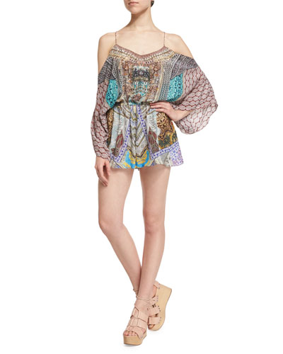 Long-Sleeve Cold-Shoulder Romper, Yeni Saray