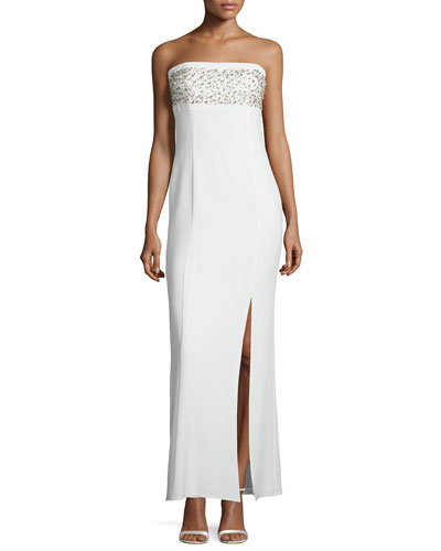 Strapless Embellished Column Gown, Warm White
