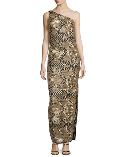 One-Shoulder Sequined Gown, Gold