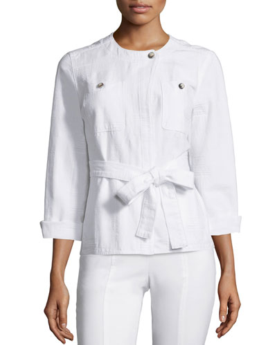 Everett Belted Jacket, White